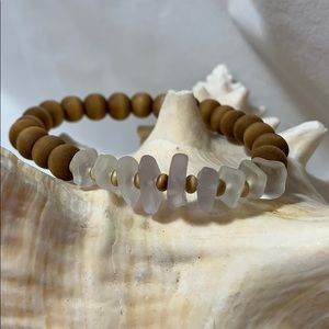 Wooden Bead & Sea Glass Bracelet